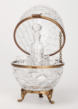 Яйцо-бар Faberge Crystal для водки и икры на две персоны, фото