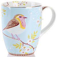 Кружка Pip Studio Early Bird с птичкой голубая 350 мл, фото