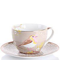 Чашка с блюдцем Pip Studio Early Birdl светло-коричневая с птичкой 280 мл, фото