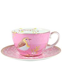 Чашка с блюдцем Pip Studio Early Bird розового цвета, фото