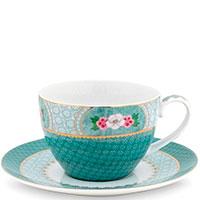 Чашка с блюдцем Pip Studio Blushing Birds синего цвета, фото