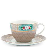 Чашка с блюдцем Pip Studio Blushing Birds бежевого цвета, фото