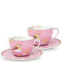Набор чашек с блюдцами Pip Studio Early Bird розового цвета, фото