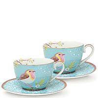 Набор чашек с блюдцами Pip Studio Early Bird голубого цвета, фото