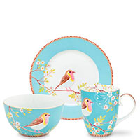 Набор посуды Pip Studio Early Bird голубого цвета на 1 персону, фото