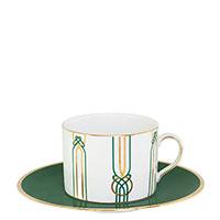 Чайная чашка Porcel Liberty с орнаментом зеленого цвета, фото