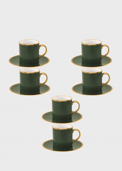 Набор чашек с блюдцами Porcel Liberty с орнаментом зеленого цвета 6шт, фото