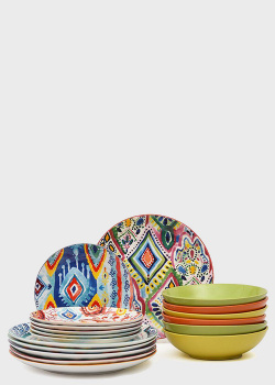 Столовый сервиз на 6 персон с ярким дизайном Brandani Samba 18 предметов, фото