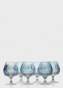 Набор бокалов для бренди Faberge Xenia из голубого хрусталя 6шт, фото