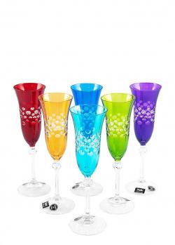 Цветные бокалы Maison Diva для шампанского 6шт, фото