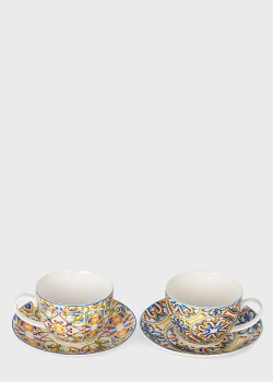Чайные чашки с блюдцами с ярким дизайном Brandani Medicea 2шт 200мл, фото