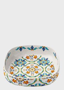 Квадратное керамическое блюдо с высокими бортиками Brandani Medicea 30см, фото
