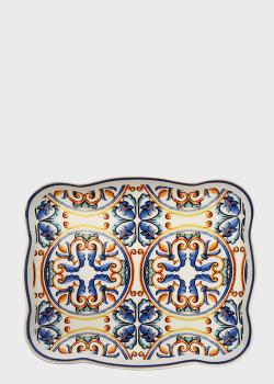 Блюдо Brandani Medicea 19х15,5см с узором синего цвета, фото