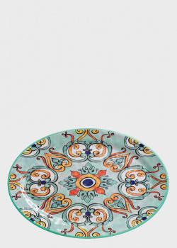 Большое овальное блюдо с оранжево-голубым узором Brandani Medicea 50х35,5см, фото