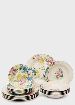 Столовый сервиз на 6 персон с цветочным рисунком Brandani Paradise 18 предметов, фото