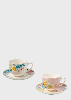 Чашка чайная с блюдцем в пастельных тонах Brandani Paradise 2шт 210мл, фото