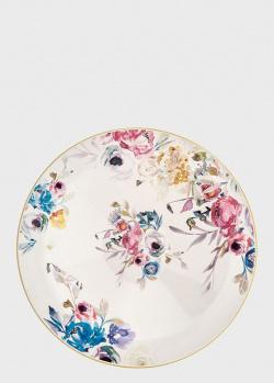 Блюдо круглое глубокое с цветами в стиле акварели Brandani Paradise 30см, фото