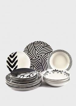 Сервиз столовый с абстрактным рисунком Maison Black&White на 6 персон , фото