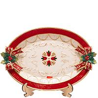 Блюдо новогоднее Palais Royal овальное красное, фото