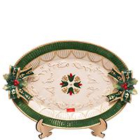 Блюдо новогоднее Palais Royal овальное зеленое, фото