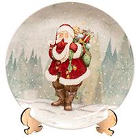 Блюдо новогоднее Palais Royal Санта с мешком подарков за спиной, фото