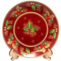 Блюдо новогоднее Palais Royal круглое красное Счастливые дни, фото