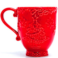 Красная чашка Bordallo Pinheiro Рождество, фото