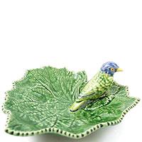 Блюдо Bordallo Pinheiro Лист с птицами 19см, фото