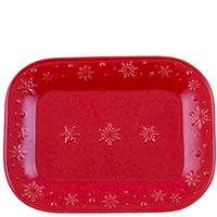 Прямоугольное блюдо Bordallo Pinheiro Снежинки красного цвета 41x30,9см, фото