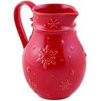 Кувшин красного цвета Bordallo Pinheiro Снежинки, фото