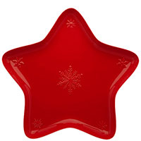 Блюдо Bordallo Pinheiro Снежинки красного цвета 45x45см, фото