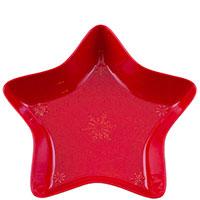 Блюдо красного цвета в виде звезды Bordallo Pinheiro Снежинки 37x37см, фото