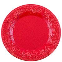 Набор подставных тарелок красного цвета Bordallo Pinheiro Зима на 6 персон 34,7см, фото