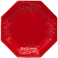 Блюдо Bordallo Pinheiro Зима красного цвета 28x28см, фото