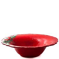 Салатник красного цвета Bordallo Pinheiro Рождественская гирлянда, фото