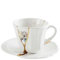 Чашка с блюдцем Seletti Kintsugi с позолотой, фото