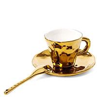 Чашка с блюдцем и ложкой Seletti Fingers золотистого цвета, фото