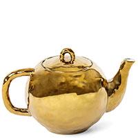 Золотистый чайник Seletti Fingers из фарфора 1л, фото