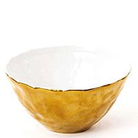 Фарфоровая пиала Seletti Fingers золотистого цвета 12см, фото