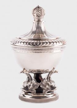 Серебряная икорница Faberge с хрустальной чашей, фото