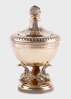 Позолоченная икорница Faberge с декором-короной, фото