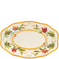 Блюдо с флористической росписью Fitz and Floyd Тюльпаны 28x18,5см, фото
