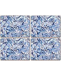 Набор ковриков под приборы Cala Home Blue Paisley 4шт, фото