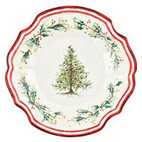 Тарелка десертная Bizzirri Holly с новогодним рисунком  22см, фото