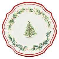 Тарелка обеденная Bizzirri Holly с новогодним рисунком 29см, фото