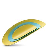 Набор из 3 подносов Alessi Ellipse голубой с желтым, фото