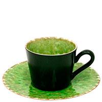 Чашка с блюдцем Costa Nova Riviera черная с зеленым, фото