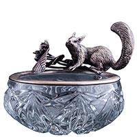 Серебряная конфетница Оникс ручной работы Белочка, фото