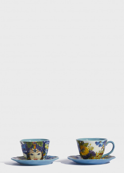 Чашки с блюдцами Baci Milano B&R Milano 2шт с рисунком, фото