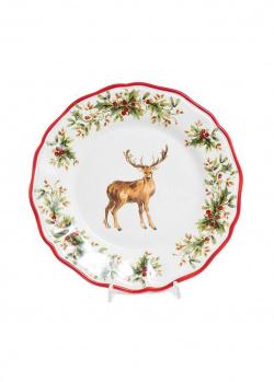 Обеденная тарелка Villa Grazia Новогодний олень 28см, фото